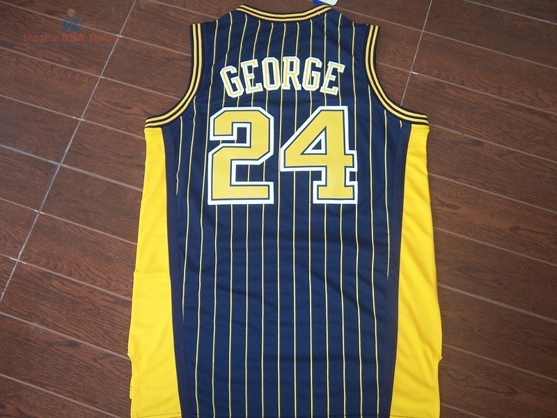 Acquista Maglia NBA Indiana Pacers #24 Paul George Blu Striscia