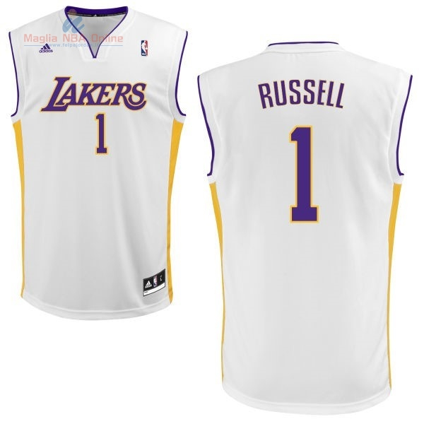Acquista Maglia NBA Los Angeles Lakers #1 D'Angelo Russell Bianco