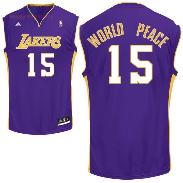 Acquista Maglia NBA Los Angeles Lakers #15 Metta World Peace Porpora