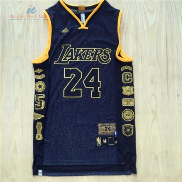 Acquista Maglia NBA Los Angeles Lakers #24 Kobe Bryant 2016 Nero Serpentina