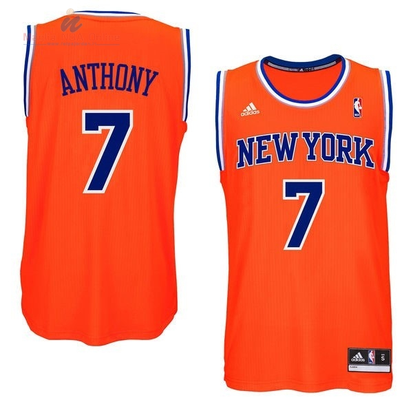 Acquista Maglia NBA New York Knicks #7 Carmelo Anthony Arancia Blu