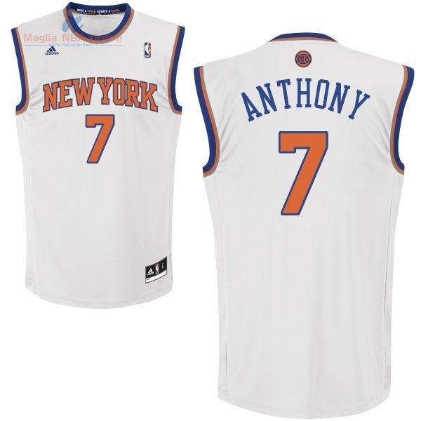 Acquista Maglia NBA New York Knicks #7 Carmelo Anthony Bianco