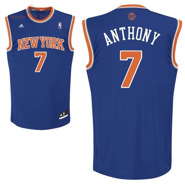 Acquista Maglia NBA New York Knicks #7 Carmelo Anthony Blu