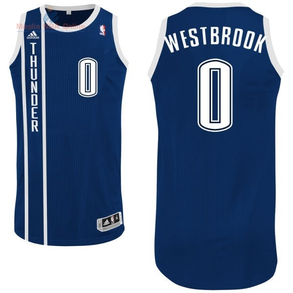 Acquista Maglia NBA Oklahoma City Thunder #0 Russell Westbrook Retro Blu