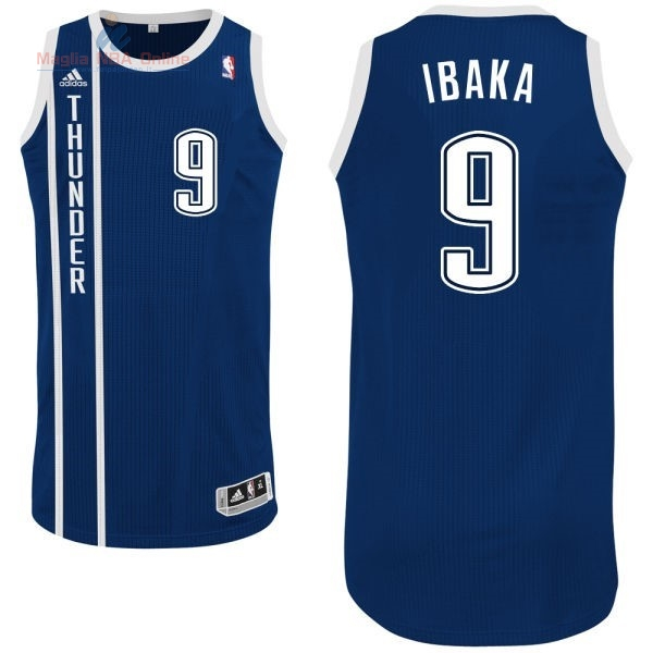 Acquista Maglia NBA Oklahoma City Thunder #9 Serge Ibaka Retro Blu