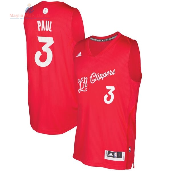 Acquista Maglia NBA Los Angeles Clippers 2016 Natale #3 Chris Paul Rosso