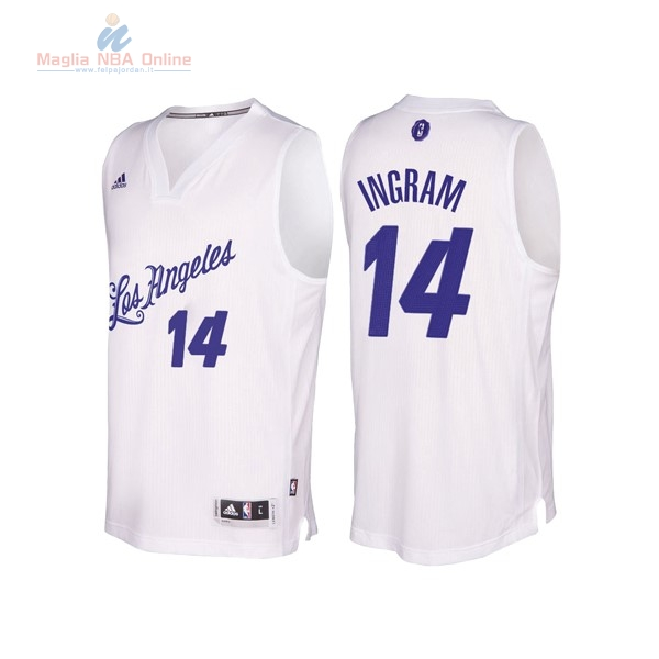 Acquista Maglia NBA Los Angeles Lakers 2016 Natale #14 Brandon Ingram Bianco