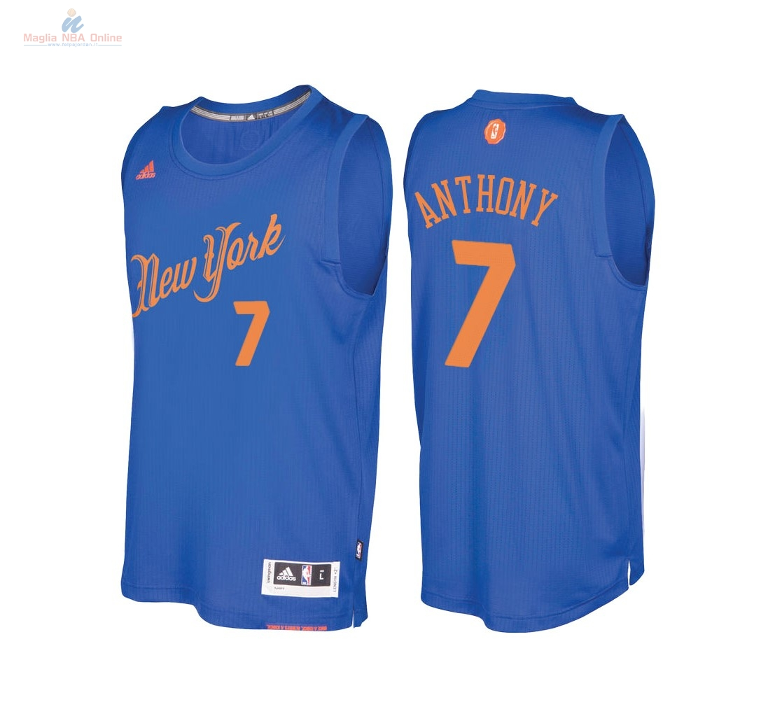 Acquista Maglia NBA New York Knicks 2016 Natale #7 Carmelo Anthony Blu